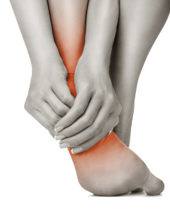 Foot pain or plantar fasciitis in runners. Sports massage therapy.
